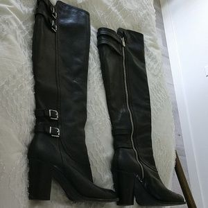 Adrienne Vittadini blk leather over the knee boots
